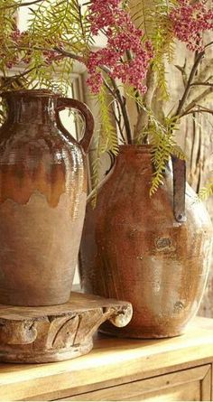 Every Tuscan Interior needs the texture, color and form found in rustic pottery. See our large pottery selection @ www. ♥Accents of Salado♥ONLINE SHOPPING Tuscan Design, Tuscan Style, Rustic Room, Rustic Decor, Tuscany Decor, Vibeke Design, World Decor, Under The Tuscan Sun, Tuscan House