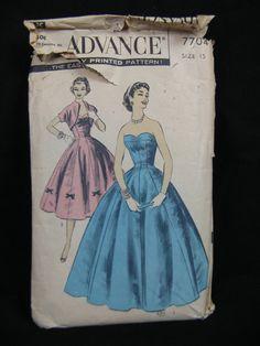 Vintage 1956 Princess Bouffant Dress & Bolero Jacket sewing pattern. Advance 7704