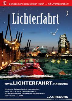 BuchenSie hier unsere Lichterfahrt Hamburg – eine Hafenrundfahrt auf einer Barkasse durch den beleuchteten Hamburger Hafen und (tideabhängig) durch die Speicherstadt!       Lichterfahrt      € 19 pro Person   € 15 pro Person mit der Hamburg Card   € 8 pro Kind (7-14 Jahre)   90 minütige Hafenrundfahrt!