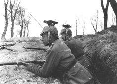 Imperial German Uhlans take cover in a ditch in World War Ww1 Soldiers, Wwi, World War One, First World, War Image, Austro Hungarian, Korean War, German Army, Vietnam War