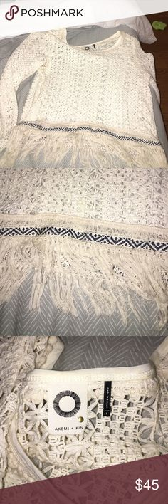 Top from anthropologie Cream Crochet long sleeve top with fringe bottom Anthropologie Tops Blouses
