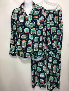 6f0af08db2c7f Nick   Nora Womens S Blue Snow Globe Flannel Pajama Set Top Pants NEW  Christmas  NickNora  PajamaSets  Everyday