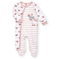 Koala Baby Girls Pink/White Long Sleeve Asymmetrical Snap Butterfly and Striped Print Footie with Zebra Applique