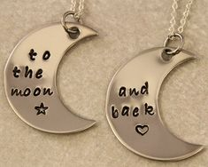 Love You To the Moon and Back - Mother Daughter Jewelry - Hand Stamped Jewelry - Stainless Steel - Mothers Day Gift on Etsy, $25.00