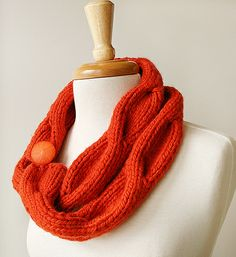 Twist & Cable Knit Scarf - Merino Wool Blend