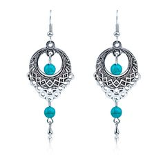 Ethnic Bohemia Drop Earrings For Women Silver Turquoise Beads Earring Hollow Big Long Tassel Statement Charm Vintage Jewelry