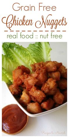 Grain Free Chicken Nuggets are so easy to make! Skip the frozen processed ones and whip up your own healthier, crispy, simple and delicious chicken nuggets. | Recipes to Nourish