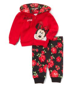 Look at this Red 'Love' Minnie Mouse Hoodie & Floral Sweatpants - Infant on #zulily today!  Baby girl Christmas present!