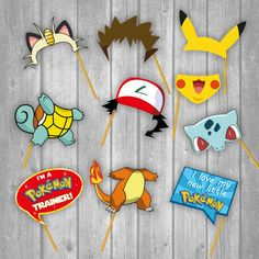 Printable Photo Booth Party Props - Pokemon ☆25 Photo Booth Props Designs☆ ☆☆☆☆☆INSTANT DOWNLOAD ☆☆☆☆☆ 25 images pack, this pack contains all the images