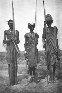 Africa | Three Shilluk men. Upper Nile, Southern Sudan. ca. 1910 | Photographer possibly Charles Gabriel Seligman