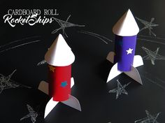 Cardboard Roll Rocket Ships Craft #galileocamps (ad)