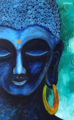 Lord Buddha Wallpaper And Images Gallery, Gautama Buddha Budha Painting, Krishna Painting, Blue Painting, Krishna Art, Lord Krishna, Lord Shiva, Painting Canvas, Shree Krishna, Krishna Images