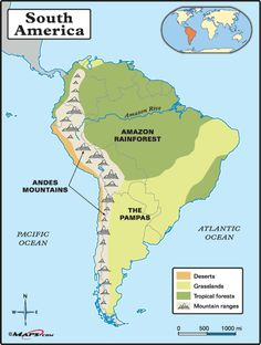 Amazon Rainforest Map | Free Printable Maps: South America Physical Map