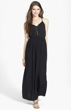 Mimi Chica Embroidered T-Back Maxi Dress (Juniors) available at #Nordstrom