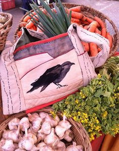 My Raven Bag, pattern #204  makes a great market bag for the first spring market. Diane Ericson Design.com