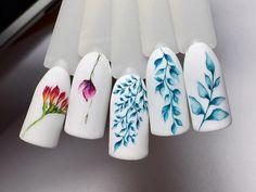 Fotografiile lui Ksenia Kupina Acrylic Nail Designs, Nail Art Designs, Acrylic Nails, Swirl Nail Art, Water Color Nails, Nail Stencils, Manicure E Pedicure, Flower Nails, Nail Tutorials