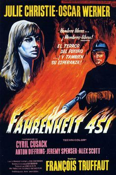 Directed by François Truffaut. With Oskar Werner, Julie Christie, Cyril Cusack, Anton Diffring. In an oppressive future, a fireman whose duty is to destroy all books begins to question his task. Julie Christie, Xavier Dolan, Fahrenheit 451, John Waters, Quentin Tarantino, Michael Fassbender, Twin Peaks, Old Movies, Great Movies