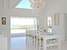 white living room with sea views in a South African beach house, Western Cape