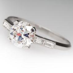 Late 1930s Antique 1.2 Carat Transitional Cut Diamond Ring
