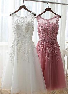 Pink Lace Applique Short Prom Dresses, White Graduation Dresses, Party – BeMyBridesmaid
