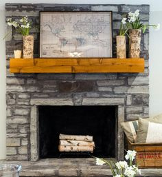Love this look! I need to put some birch logs in our gas fireplaces for the summer.