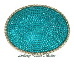 turquoise things | Anthony David Swarovski Crystal Belt Buckle Buckles - Oval Turquoise