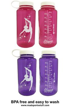MadSportsStuff dancer/gymnast water bottle.  Wide mouth top makes it easy to clean.  BPA free to keep the little ones safe...