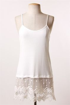 Pointed Lace and Dot Top Extender - Ivory