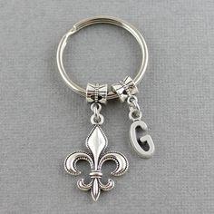 SRA SKGD Fleur De Lis Keychain  Initial by SweetRideAccessories