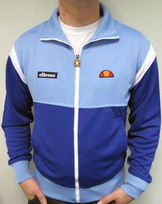 Ellesse Heritage Carlsson Track Top in Royal Blue and Sky Blue available at Casual Classics. Be sure to see our website for more Ellesse. Football Casuals, Vintage Men, Vintage Paris, Ellesse, Vintage Style Outfits, Street Wear, Casual Outfits, Menswear, Vintage Sportswear