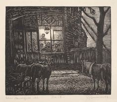 Saturday Night, ca 1925, Julius J. Lankes. American (1884 - 1960) - Wood Engraving on Japanese Paper -  a man with a past