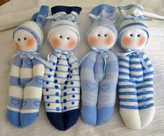 Sock Dollies~made from one sock each.