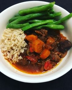 Hungarian Goulash with brown rice & string beans.