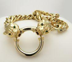 Stunning 1.50cttw Diamond (VVS,VS/F) with Emerald Eye Panther Vintage 14k Solid Gold Necklace, SKU N-1005