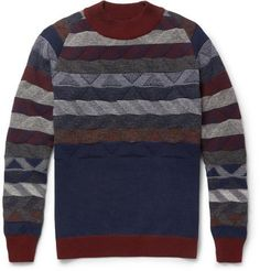 White Mountaineering Patterned Knitted Wool Sweater Mr Porter on nuji.com