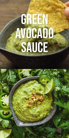 Green avocado sauce is the most addictive addition to all your favorite Mexican recipes! Drizzle over tacos or eat with chips. Green avocado sauce is the most addictive addition to all your favorite Mexican recipes! Drizzle over tacos or eat with chips. Mexican Food Recipes, Vegetarian Recipes, Cooking Recipes, Healthy Recipes, Mexican Snacks, Cooking Ideas, Healthy Mexican Food, Recipes With Avocado, Firm Tofu Recipes