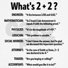 This illustrates the various points of view as well as jargon in between upper-level careers, engineering being the simplest and most logical. Too funny Physics Jokes, Math Jokes, Math Humor, Nerd Humor, Funny Jokes, Funny Science Jokes, Accounting Jokes, Accounting Student, Work Jokes