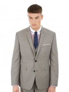 2 button fastening and a notch lapel. Burton Menswear, Fitted Suit, Suit Jacket, London, Grey, Fitness, Fabric, Jackets, Color