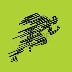 Run, running man from lines, abstract vector silhouette. Runner profile. Sprinter is gaining momentum at start