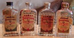 Seagram's Miniature Whisky Bottles  (5 Five Crown Blended Whiskey Mini Liquor Bottle, Tiny Seagrams Alcohol Bottles)