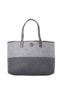 TORY BURCH Ashley Shopper Tote in Gray. Tote this bag around with you anywhere you go! Easily holds all your everyday belongings & more! #trendy