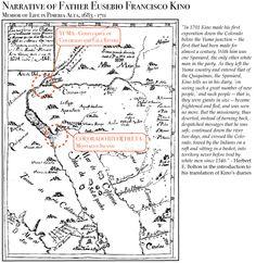 Father Kino Map of travel through Pimeria Alta / Spanish Arizona