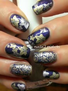 Metallic leaves fall nail stamping