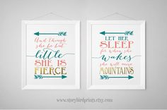 Nursery Decor Prints, And though she be but little and Let her sleep, Shakespeare quote, Prints, nursery wall art, poster,Teal, Aqua, Coral