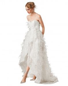 """Elizabeth Fillmore """"Plume"""" eyelet-embroidered organza high-low wrap ball gown with ostrich feathers (available atGabriella New York). I like the shape, dont love the feathers"""