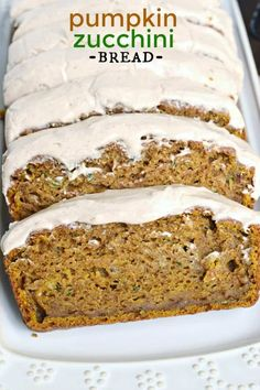 Shugary Sweets Pumpkin Zucchini Bread is an incredibly moist, flavorful treat topped with a cinnamon cream cheese frosting! Makes TWO freezer friendly loaves! Köstliche Desserts, Delicious Desserts, Dessert Recipes, Yummy Food, Health Desserts, Pumpkin Zucchini Bread, Zucchini Bread Recipes, Zuchinni Pumpkin Bread, Moist Zucchini Bread