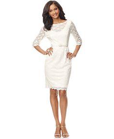 Alex Evenings Dress, Three Quarter Sleeve Lace Overlay Belted Sheath - Womens Dresses - Macy's