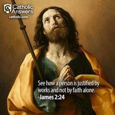 What do Catholics believe about Faith and Works? Click here: Catholic Theology, Catholic Quotes, Catholic Prayers, Lives Of The Saints, Catholic Answers, Religious Education, Pray For Us, Roman Catholic, Christianity