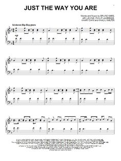 Bruno Mars Just The Way You Are sheet music, piano notes