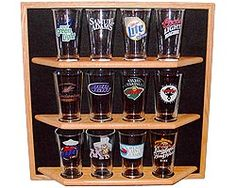 Oak Pint Beer Glass Display Shelf Details - Display Shack - Collectable Cases Racks & Shelving Anniversary Gift for Husband? #fifthanniversary #wood